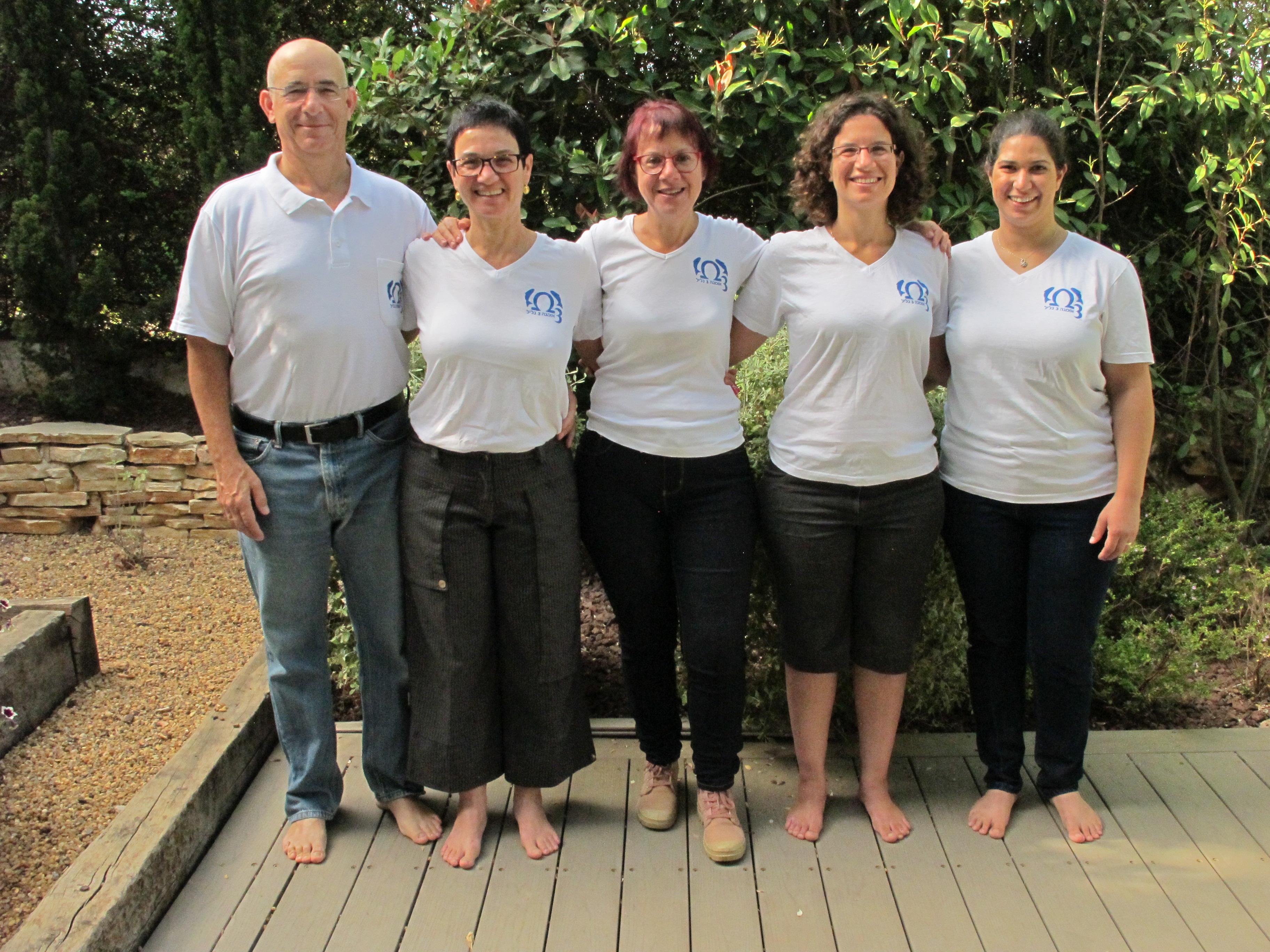 צוות אומגה 3 גליל. מימין לשמאל: ענת, אור, בתיה, אורנה וגיא